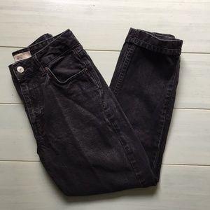 Topshop Moto Mom Washed Black Jeans